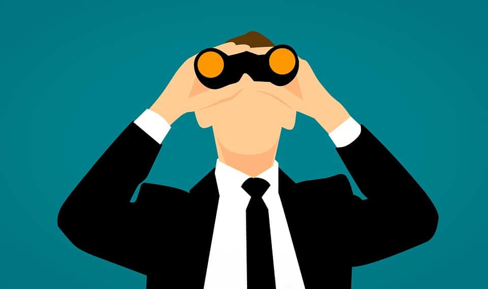 man cartoon looking through binoculars, Dentons Digital, Website Design Build, Wiltshire, Salisbury