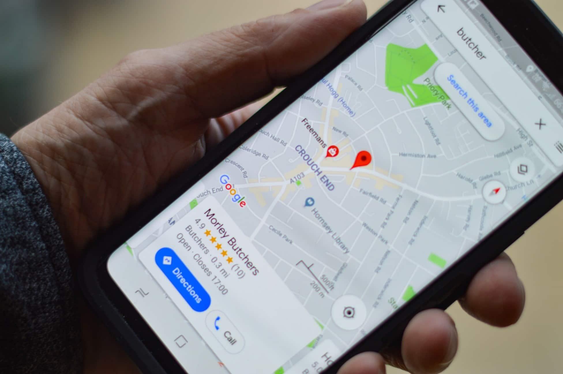 Google maps on smartphone, Dentons Digital, Website Design Build, Wiltshire, Somerset