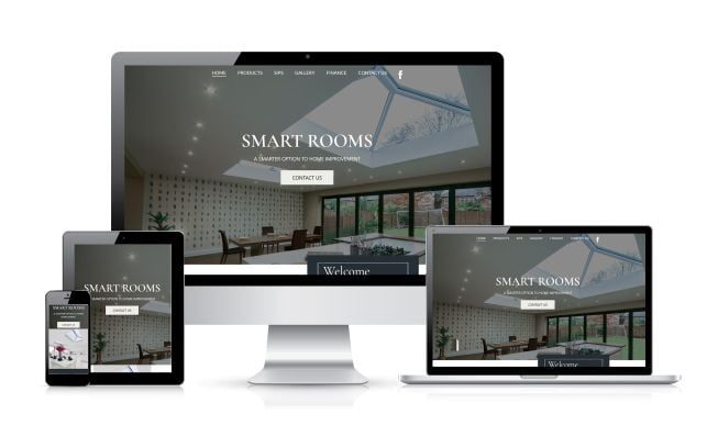 Desktop, Laptop, Tablet and Smartphone icon Smart Rooms website example on them, Dentons Digital, Website Design Build, Multiple device optimisation,