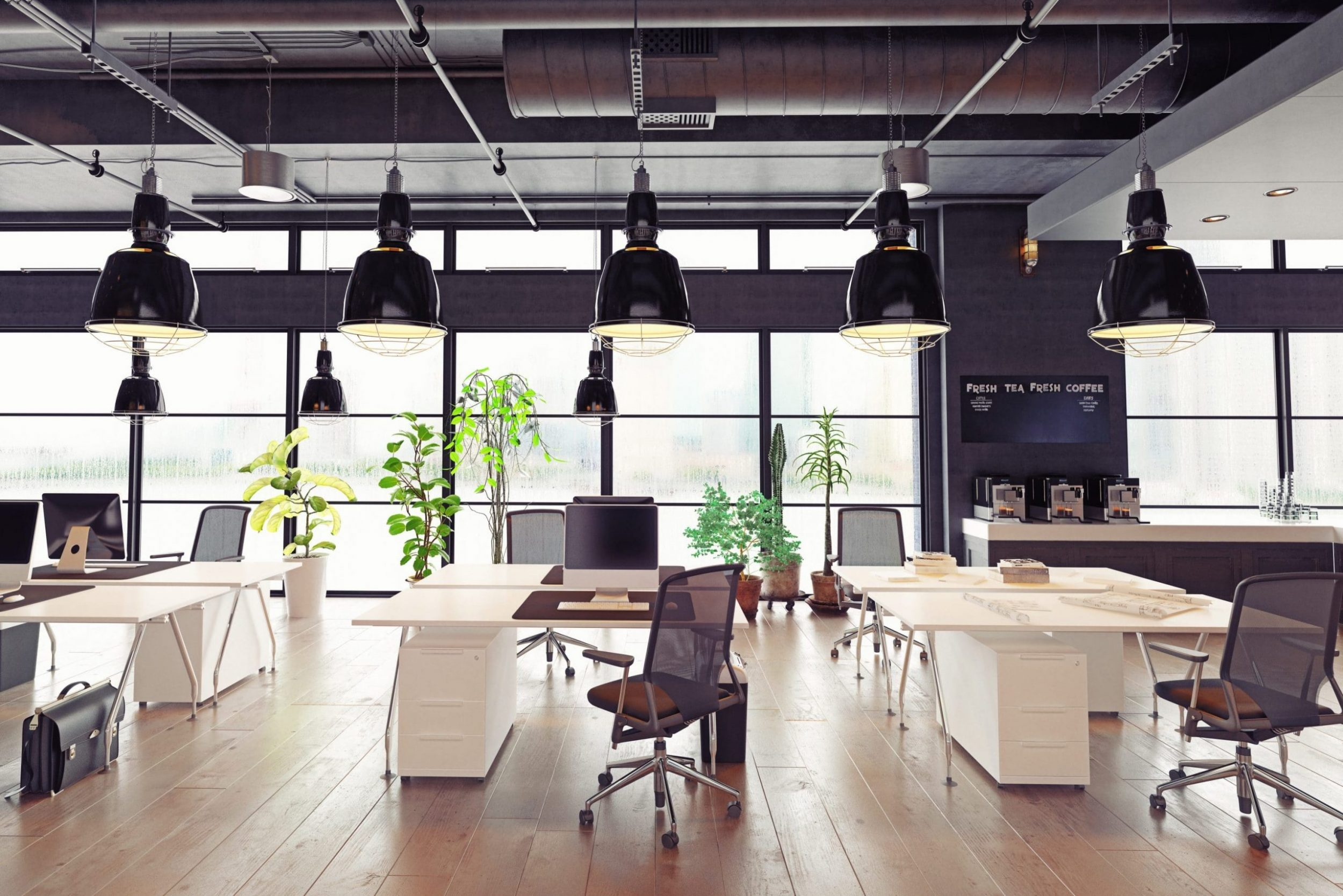 Empty urban office with natural light, PPC Campaign, Elm Workplace, Dentons Digital, Website Design, Wiltshire, Somerset