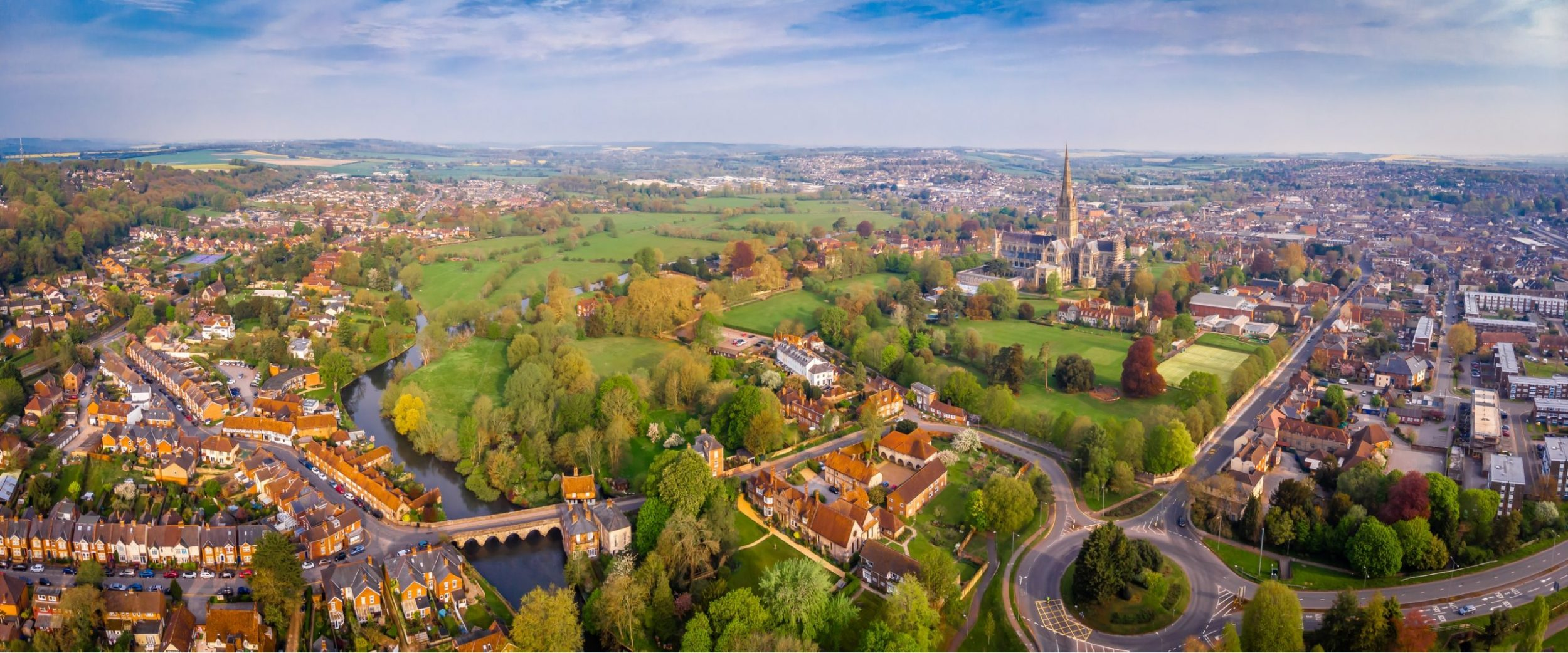 Panoramic view above Salisbury city, Dentons Digital, Website Design Build, SEO and Social Media Marketing, Salisbury